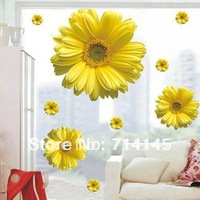 Free shipping Bright yellow Flower Wall Sticker