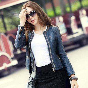 Leather cloТонкийg Slim О-образным вырезом Plaid Crimping Женщины's Leather Jacket ...