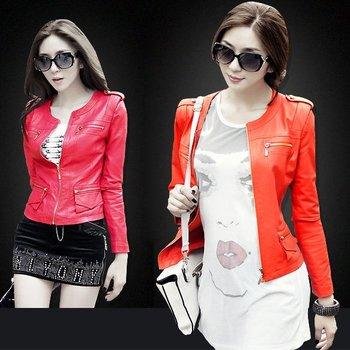 Leather clothing  autumn epaulette motorcycle short design women's PU small leather clothing women jacket 5105