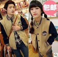 CONTRAST COLOR Jacket Baseball Uniform Lovers Sweatshirt Plus Size Outerwear
