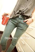 Women Mid waist Jeans Slim Pencil Denim Pants free shipping Best selling!