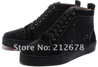 Solid black suede leather rhinestone men shoes red bottom sneaker for men size 37-46