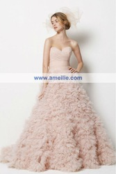 DHL Free Shipping 2012 Latest pink feathered wedding gowns bow back(China (Mainland))
