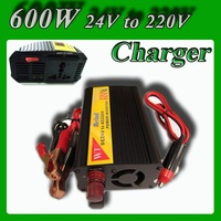 Modified sine wave power inverter 600W DC 24V to AC 220V Power converter solar power systerm with battery charger