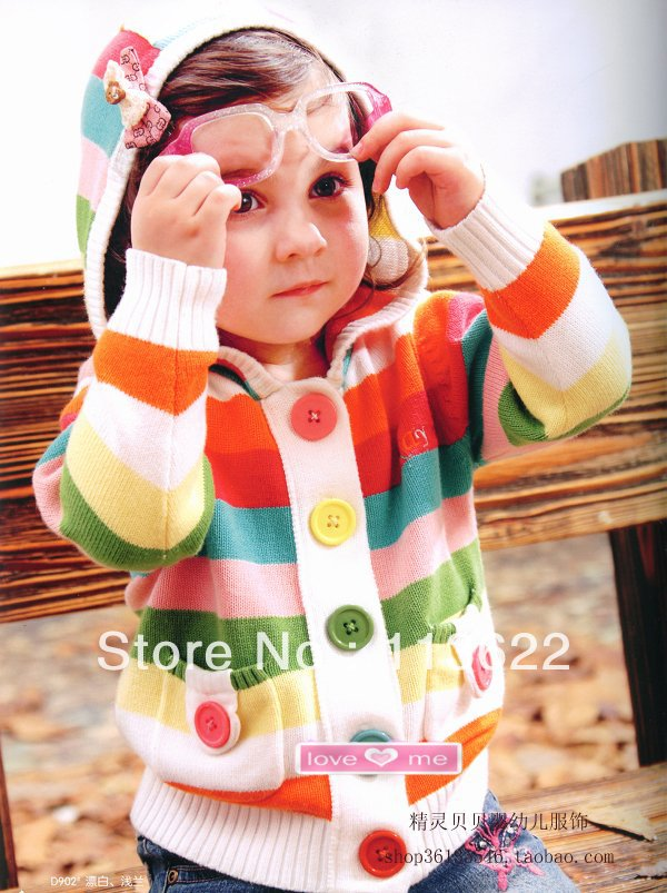 Baby Hooded Rainbow Stripe Colorful Cardigan Kid's 100% Cotton Jersey Knitwear Warm Keeper Outwear Wholesale C13399HE(China (Mainland))