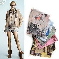 Min.order is $5(mix order) New Fashion Women Begonia Flower Scarves Ink Style Chiffon Neck Scarf Shawls 80632