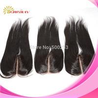 Deep Middle Part 3.5 by 4 Natural Black Color Brazilian Virgin Hair Lace Closure Hair