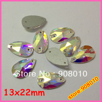 100pcs 13x22mm pearshape sew on rhinestones Crystal AB color droplet sewing crystal 12x22mm
