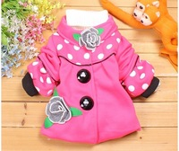 Free shipping!2012 new!Good quality! baby clothing(4pcs/1lot) Dot flower girl's coat, children's coat, children coat