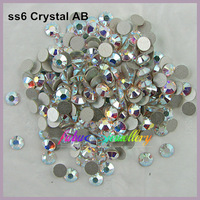 Free Shipping! 1440pcs/Lot, ss6 (1.9-2.1mm) Crystal AB Nail Art Flat Back Non Hotfix Crystals