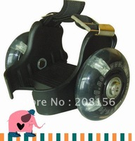 Shoes with flashing wheels with unique push button to adust size and with stopping brake SH988-2