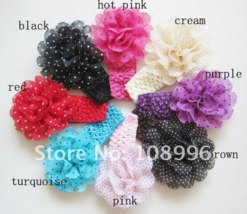 Free shipping-8colors Silk Flower Baby Headband ,New Style Baby Head Band,Hair Accessory,Mesh Flower Headband 15pcs/lot
