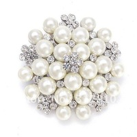 Rhodium Silver Ivory Faux Pearl and Rhinestone Crystal Bouquet Flower Pearl Cluster Brooch