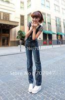 Free shipping 2014 new arrival overalls woman Denim bib pants loose plus size long jumpsuit jeans straight denim jumpsuit women