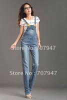 Free shipping 2014 New Brand denim jumpsuit bib pants Plus size straight loose women's denim rompers vintage fashion overalls