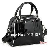 free shipping  Bright PU leather fashion  zipper  handbags women bags ,Korea style