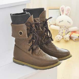 large size 34-43 Hot 2014 brand fashion leather female knight flat ankle snow boots for women and women's winter shoes #Y10119F