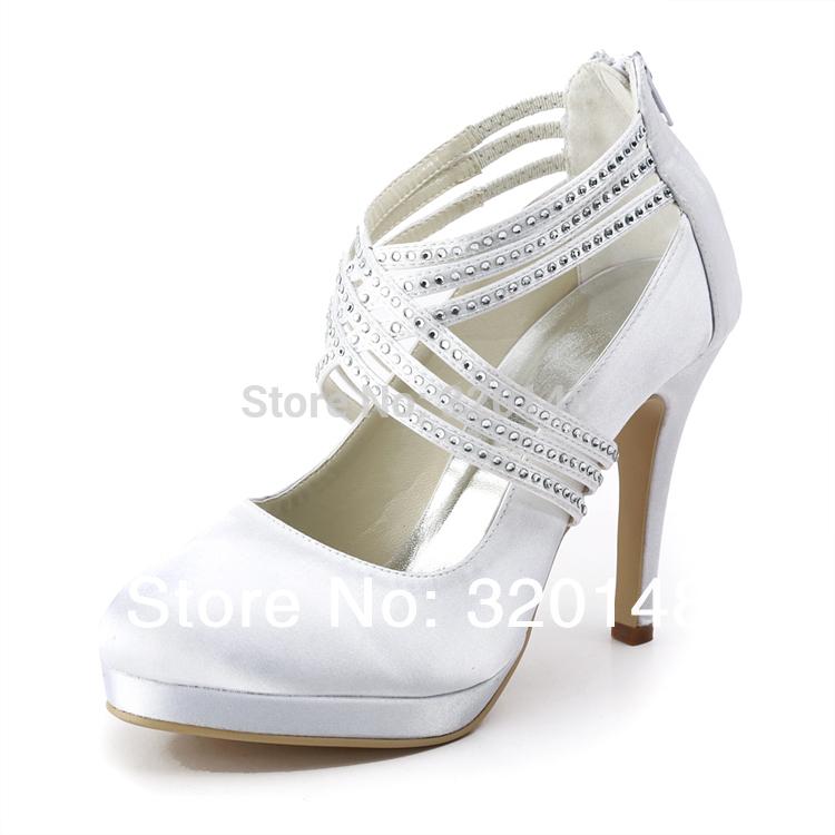 "2014 Elegant EP11085-PF Woman White Round Toe Rhinestone Straps Platform Pumps 4"" High Heel Wedding Shoes(China (Mainland))"