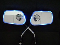 Free shipping( two sets)+ blue lights+ Bluetooth Motorcycle  rearview mirrors