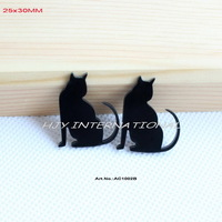 (80Pcs/lot) Eco-Friendly Black Acrylic Cat Bulk Supplies Laser Cut Earrings Crafts -AC1002B