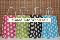 Sale paper bags Ball Dinner Gift Food Promotion christmas All-match Packing bag printed White Polka Dot  bag 50pcs/lot 13*8*21cm