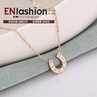 18KGP gold plated fashion necklace horseshoe pendant necklace chain stainless steel necklace jewelry wholesale free shipping