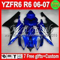 On sale+7gifts Factory blue black For YAMAHA YZF-R6 06-07 YZF R6 YZFR6 YZF600 600 06 07 2006 2007 Blue black Full Fairing Kit