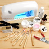 Professional Full Set UV Gel Kit Nail Art Set + 9W Curing UV Lamp Dryer Curin NA209 + NA656