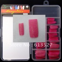 Freeshipping Wholesales Deep pink False French Glitter Nail Tips 70pcs