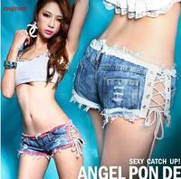 Free shipping / 2014 Fashion New Sexy Hot Girls Denim Shorts 2014 Summer Holiday Low Waist Beach shorts for women
