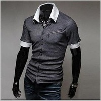 Free shipping,Unique design more button zipper decoration leisure cultivate one's morality short sleeve T-shir