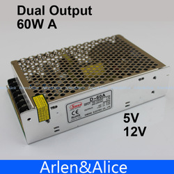 D 60W A Dual output 5V 12V Switching power supply AC to DC(China (Mainland))