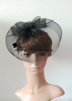 large black hair clip flower feather fascinator mesh fancy hat for wedding party ball gift