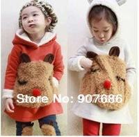 Korean lovely baby girls autumn woolly Teddy Bear hoodie pants set girl two-piece suit #7002