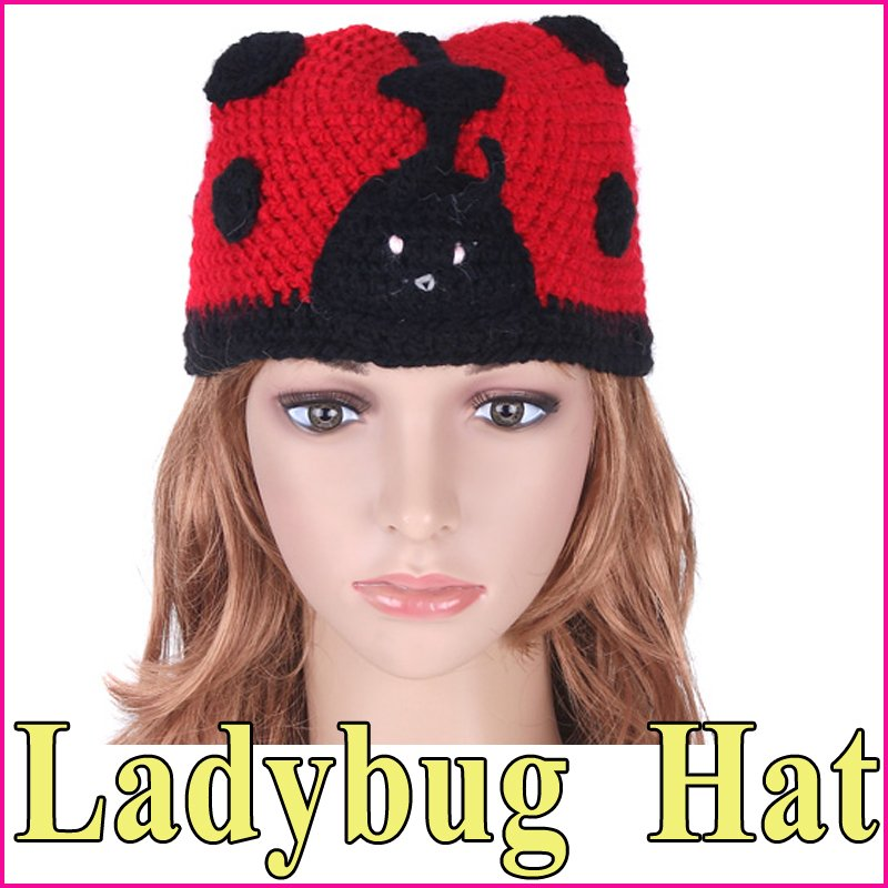 5 pcs/lot Cartoon Ladybug Hand-knitted Wool Yarn Beanie Crochet Knit Kids Children Winter Animal Hat Cap , Free Shipping(China (Mainland))
