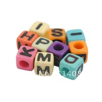 min order=$10(can mixed order)Free Shipping Hot Sell 6mm Colorful Individul Alphabet Acrylic Letter Cube BeadsA-Z