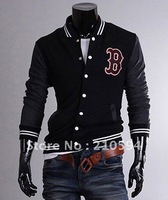 "2012  Men's ""B"" Baseball Hoody Sport Jacket Uniform Sweatshirt jumper COAT Blazer 4 SIZE M L XL XXL Navy Red Black"