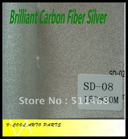 Brilliant  Silver 1.52X30M Air free bubbles auto changing film carbon fiber vinyl,car fiber sticker