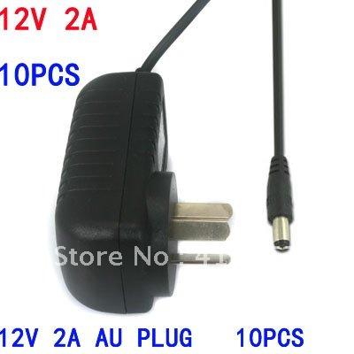 10pcs wholesale AU Australia 3-pin Plug AC100-240V to DC 12V 2A 2000mA Power Supply Adapter for CCTV Camera/LED free shipping(China (Mainland))