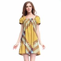 2013  women's elegant ladies OL outfit fashion plaid slim mid-waist dress,145027