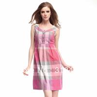 High quality 2013  women's fashion elegant slim OL outfit vest plaid  dress,H12007