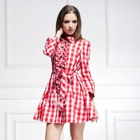 2012 autumn women's silk elegant fashion slim chiffon ruffle plaid one-piece dress