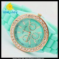 Hot sale high quality diamonds silicone jelly Geneva watch (SW-447)