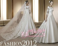 Free Shipping 2013 New Arrival Caluns Bridal Wedding Dress,Lace Wedding Gown