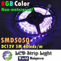 LED 2pcs/lot DC12V 60leds/M 5M 300leds 72W RGB Color Nonwaterproof LED Flexible Strip Light  SMD 5050