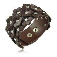 Fashion Jewelry Leather Bracelet Mixed Colors Flower PU Leather Bracelets/Bangles for Women B1232