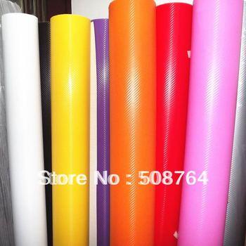 HOT 3D Car sticker 5pcs (100*60CM) carbon fiber film/panel face decoration Free shipping+Wholesale