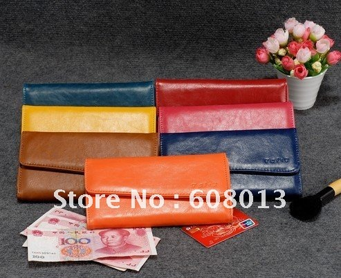 2013 Lady oblique flap colorfully three folded high quality wallet money clip, free shipping, wholesale and retail(China (Mainland))