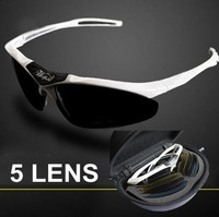 WOLFBIKE New brand wolfield New White Sports UV400 Bike Bicycle Cycling Glasses Goggles Sunglasses 5 Lens