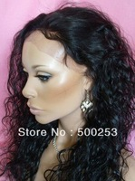 Popular Brazilian virgin human hair  lace front wig with water wave